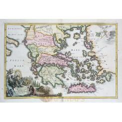 ANTIQUE MAP GREECE GRAECIAE ANTIQUAE OLD ENGRAVING CELLARIUS 1731