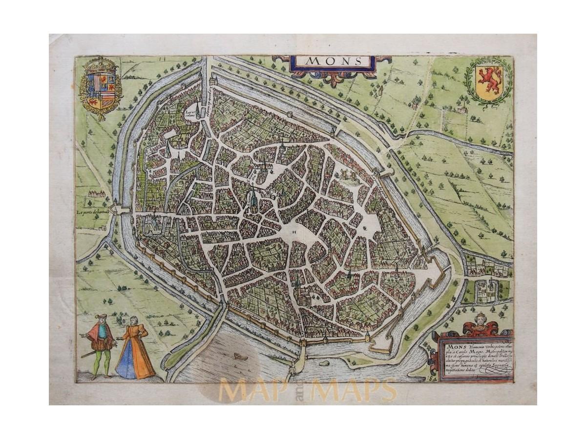 Mons Bergen Belgium Antique map Guicciardini Mapandmaps