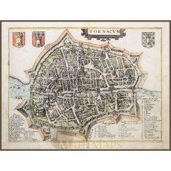ANTIQUE MAP, CITY OF TOURNAI, DOORNIK, BELGIUM, GIUCCIARDINI/ BLAEU 1612