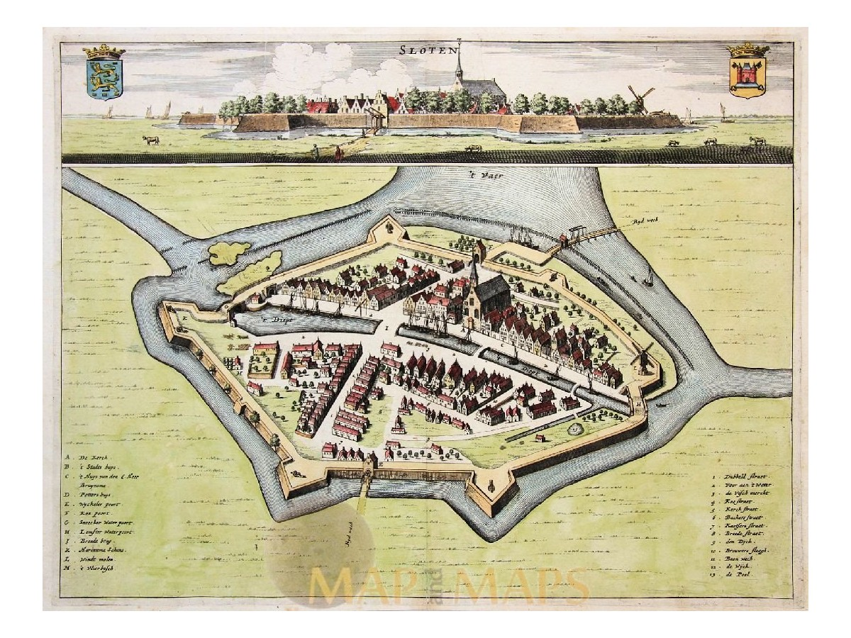 Sloten Antique Map Friesland Schotanus Mapandmapscom