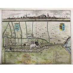 Workum Antique map Friesland Worckum Schotanus 1664