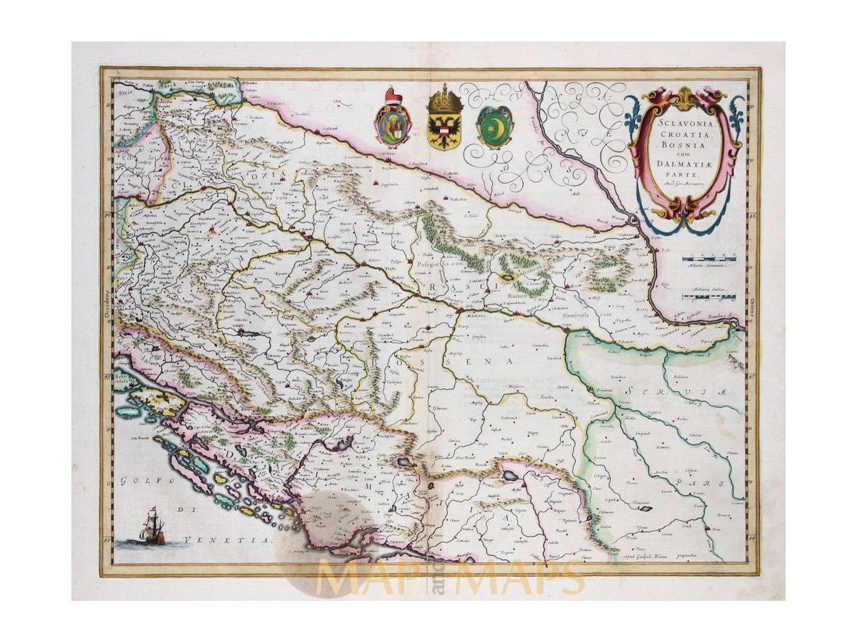 Sclavonia croatia bosnia cum dalmatiae old map mercator sclavonia croatia bosnia old map balkans mercator 1636 loading zoom gumiabroncs Image collections