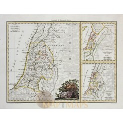 Palestine Old map Holy Land Israel Malte-Brun map 1812