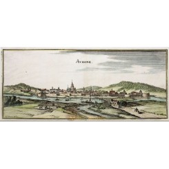 AUXONNE - BOURGOGNE, FRANCE, ANTIQUE ORIGINAL PRINT MERIAN 1666