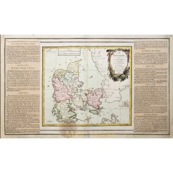 Denmark Antique Old Map Le Danemark by La Tour 1766