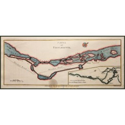 ANTIQUE PLAN TROLHETTA CANAL, GOTHENBURG STOCKHOLM SWEDEN by KITCHIN 1784