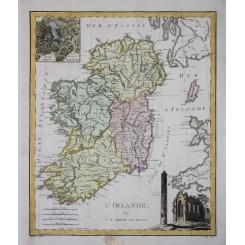 Ireland Old Antique Map L'Irlande Barbie du Bocage 1783