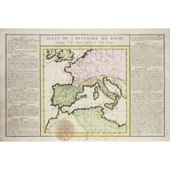 Antique map History of Rome Italy Spain in Europe by Desnos/ la Tour 1783