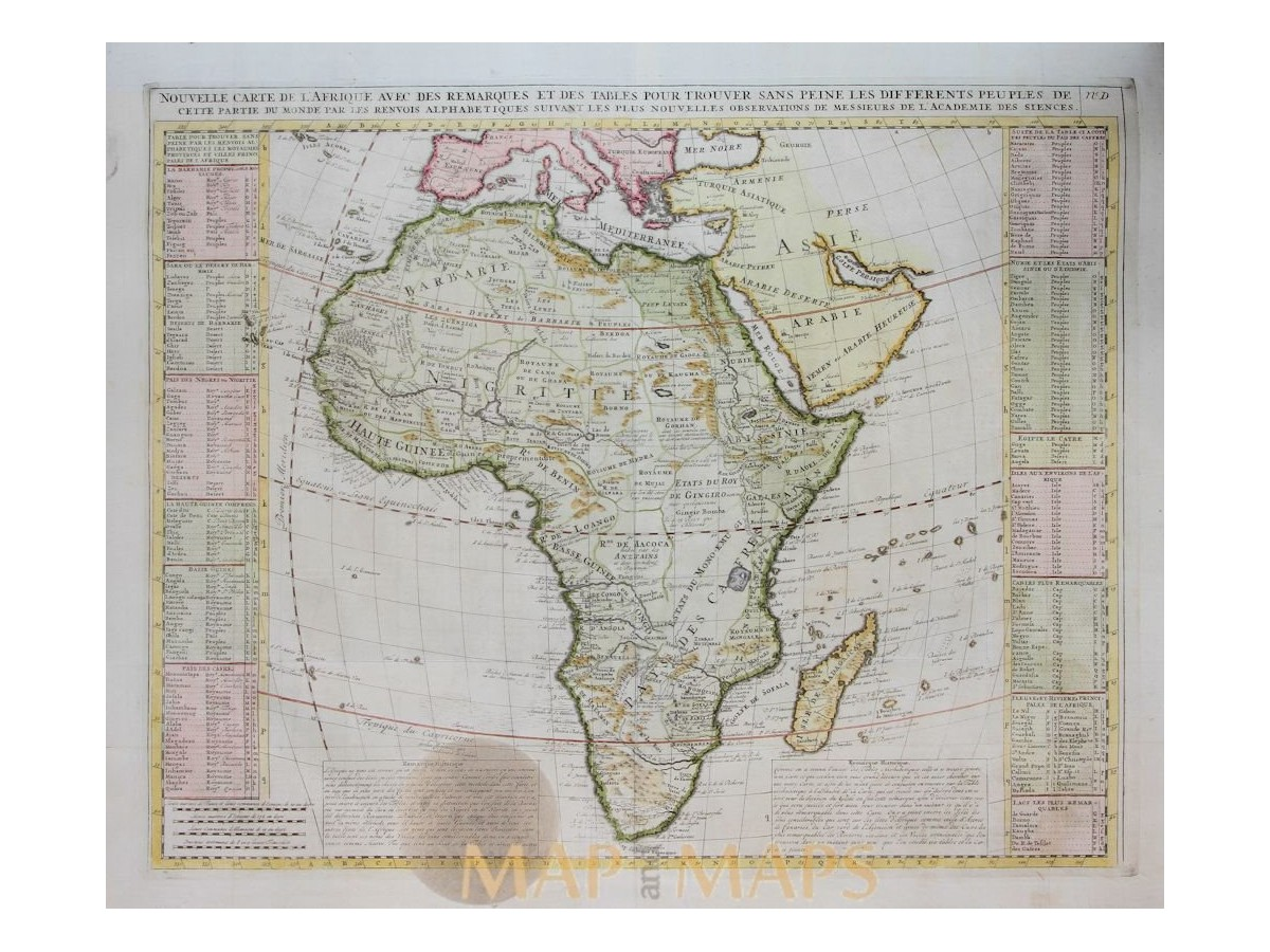 Africa old map Nouvelle Carte d\'Afrique by Chatelain 1719 | Mapandmaps
