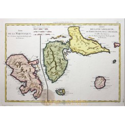 Guadeloupe Martinique Old map Isle de la Martinique Bonne 1787