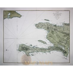ANTIQUE MAP HAITI CARTE DE LA PARTIE FRANCAISE DE ST. DOMINGUE TARDIEU 1822