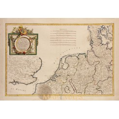 Netherlands Germany Denmark Antique map Zannoni 1762