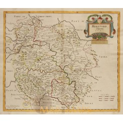 County of Herefordshire ANTIQUE MAP Hereford Shire ROBERT MORDEN 1695