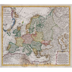 Tabula Geographica Europae Old map Continent Europe Euler 1760