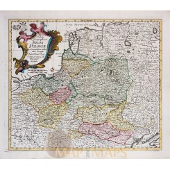 Regni Poloniae Antique map Poland Leonhard Euler 1760