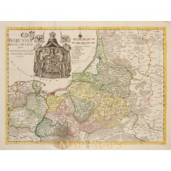 Poland Lithuania antique map Borussia Regia Euler 1760