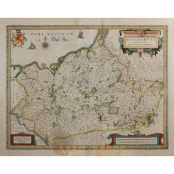 Duchy of Mecklenburg Antique Map MEKLENBURG DUCATUS Hondius Janssonius 1638