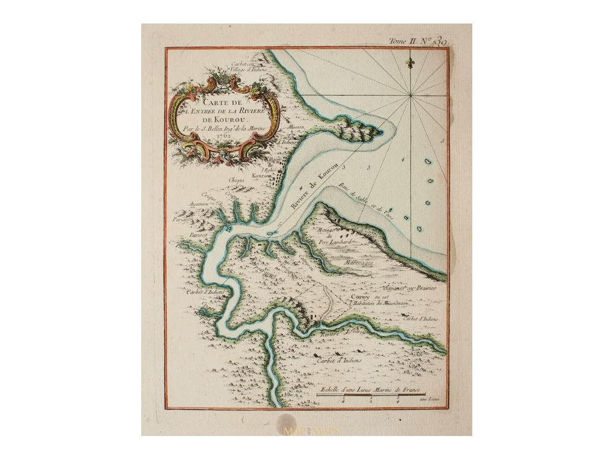 French Guiana Old map de la Riviere de Kourou Bellin MM
