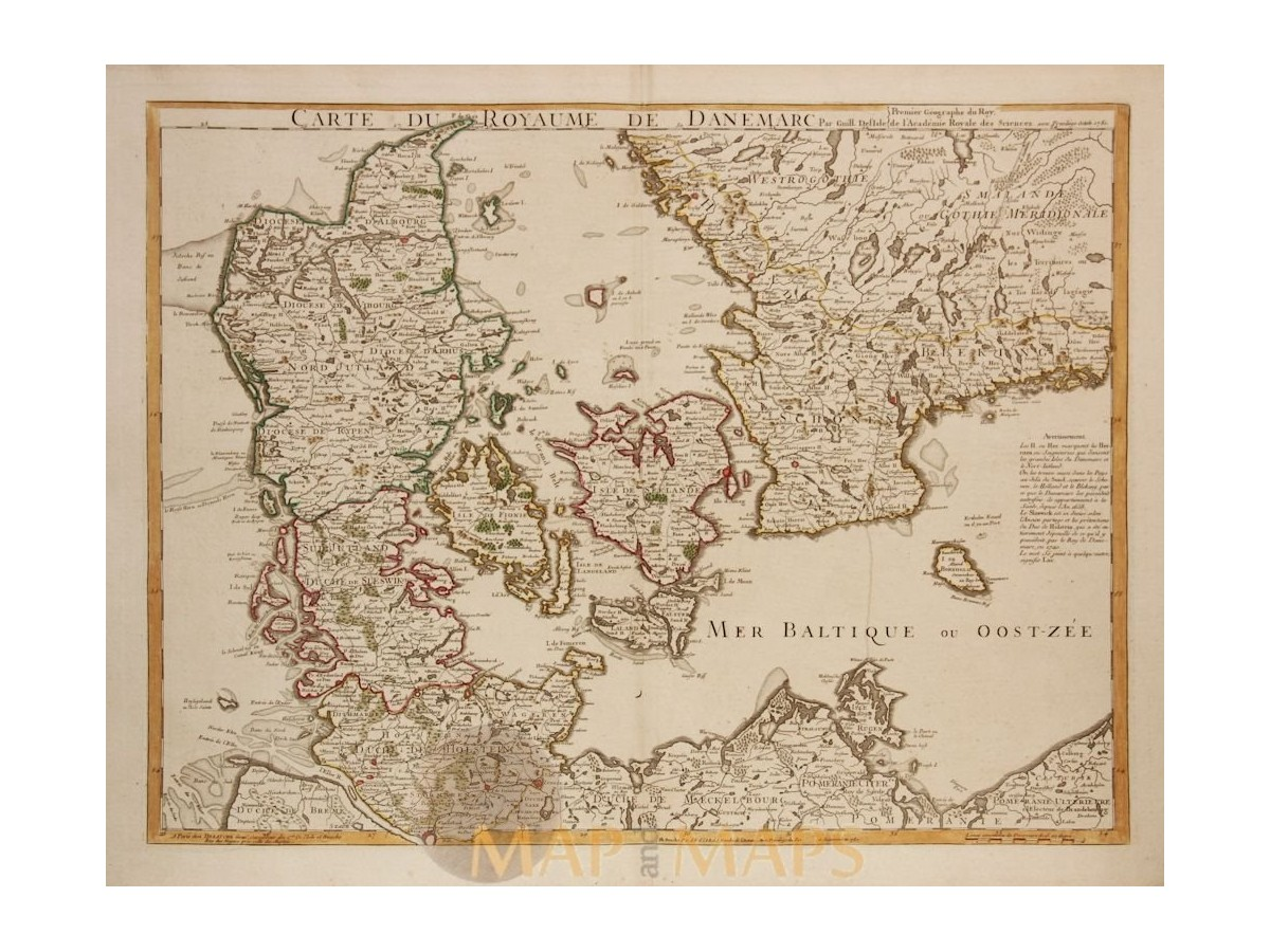 Carte du royaume de danemarc old map denmark 1780 carte du royaume de danemarc old map denmark delisle 1780 loading zoom gumiabroncs Gallery
