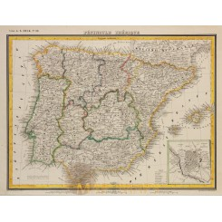 Antique map IBERIAN PENINSULA PORTUGAL SPAIN-OldMap by HECK 1842