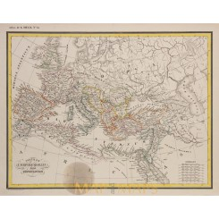 Roman Empire Constantine the Great original antique map Heck 1842