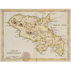 Martinique Old map Isle de La Martinique Le Rouge 1748