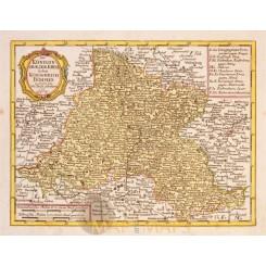 Bohemia Antique map Königreich Böhmen Schreibern 1749