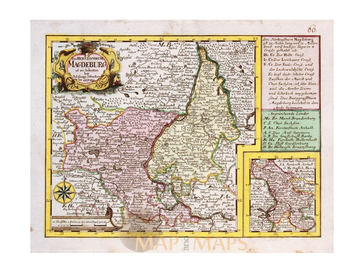 Germany old map Hertzogthum Magdeburg Schreibern 1749