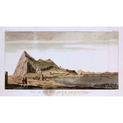 View of Gibraltar antique print Vue de Gibraltar Anson 1764