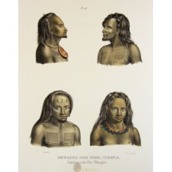 ANTIQUE PRINT, NATIVES OF TIKOPIA ISLES, TATOO, PACIFIC OCEAN BY HONEGGER 1850
