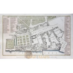 The Palace of Whitehall London Antique plan Brayley 1829