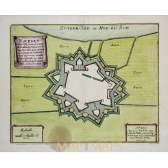 Naarden Antique map Naerden engraved Plan/de Fer 1696