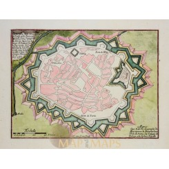 VERCELLI  ITALY Antique plan Verceil Ville forte Italie de Fer 1696