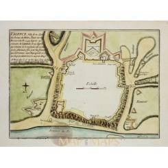 PLAN OF VALENZA, VALENCE VILLE FORTE D'ITALIE, OLD ENGRAVING, DE FER 1696