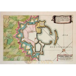 Plan of Civitavecchia Italy, ANTIQUE ENGRAVING, DE FER 1696