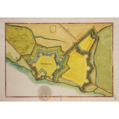 IJZERDIJKE ZEELAND antique plan Holland Merian 1660