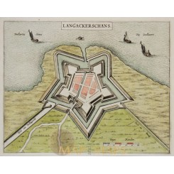 FORTRESS LANGACKER SCHANS NIEWESCHANS GRONINGEN HOLLAND,BY BLUE c. 1650