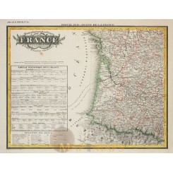 Physical Map of France - Antique Map Heck 1842
