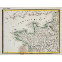 NORTH-WEST FRANCE ANTIQUE MAP No: 32 HECK 1842