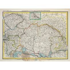 Hongary Austria Empire Allemagne Antique map Heck 1842