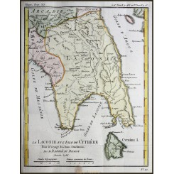ANTIQUE MAP GREECE LACONIA-ISLE OF CYTHERA by BARBIE DU BOCAGE/JANVIER 1786