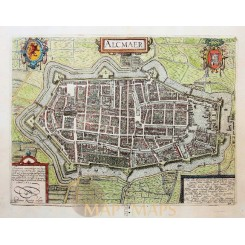 Alkmaar Antique Map Town Plan Giucciardini 1613
