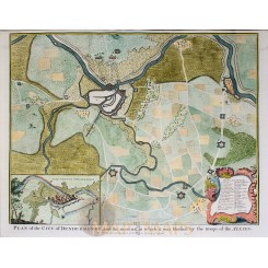 ANTIQUE BATTLE PLAN OF DENDERMONDE, FLANDERS, BELGIUM BY RAPIN 1743.