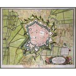 PLAN OF BETHUNE, BETUM, FRANCE, HISTORICAL MAP, BY RAPIN 1743.