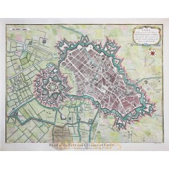 OLD BATTLE PLAN LILLE-FLANDRES CASTLE FORTIFICATIONS CITADEL OF LISLE RAPIN 1743