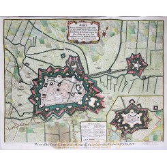 Venant France Siege of Aire Old battle plan Rapins 1743.