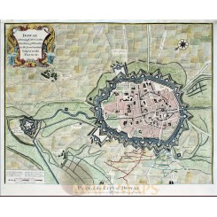Douai France Old Plan of The City of Doway Rapin 1743
