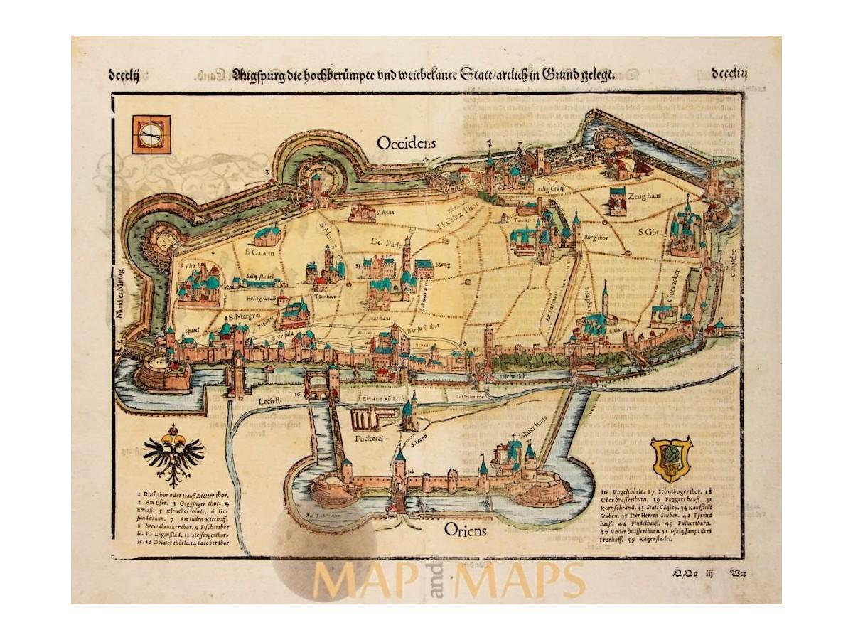 Augsburg map Germany Sebastian Mnster Mapandmaps