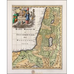 Totius Terrae Sanctae Holy Land map Cluver 1697