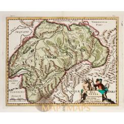 Helvetia Switzerland antique map Cluver 1697